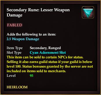 Secondary Rune: Lesser Weapon Damage
