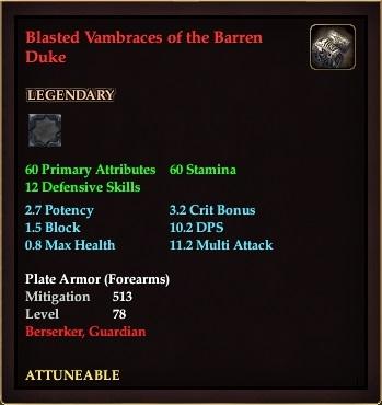 Blasted Vambraces of the Barren Duke (Level 78)