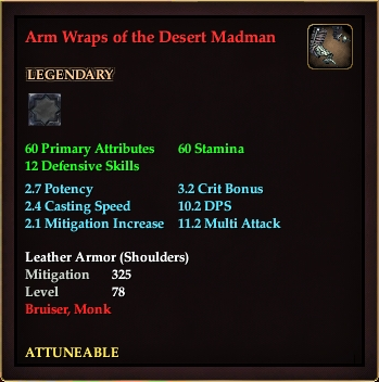Arm Wraps of the Desert Madman (Level 78)