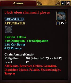 Black ebon chainmail gloves