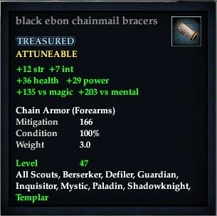 Black ebon chainmail bracers