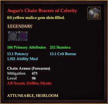 Augur's Chain Bracers of Celerity (0 Gem)