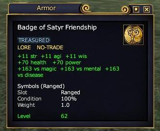 The Badge of Satyr Friendship