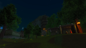 The Village of Shin Tower at night