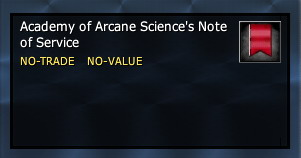 Academy of Arcane Science's Note of Service