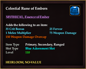 Celestial Rune of Embers (Heirloom)