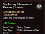Smoldering Adornment of Defense (Greater)