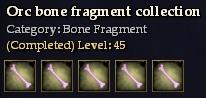 Orc bone fragment collection