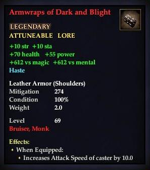 Armwraps of Dark and Blight (Level 69)