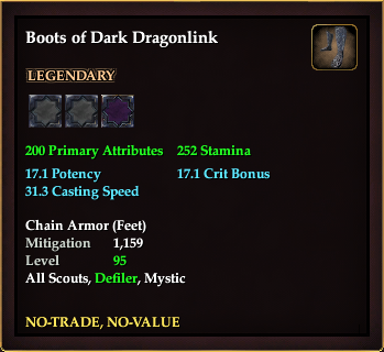 Boots of Dark Dragonlink