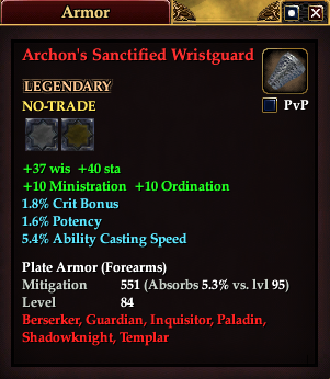 Archon's Sanctified Wristguard (Level 80)