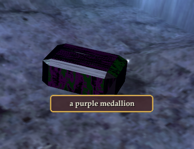A purple medallion
