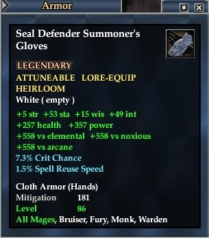 Seal Defender Summoner's Gloves