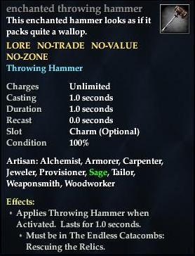Enchanted throwing hammer