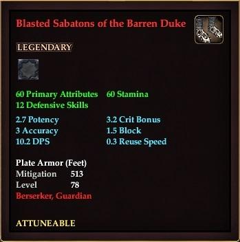 Blasted Sabatons of the Barren Duke (Level 78)