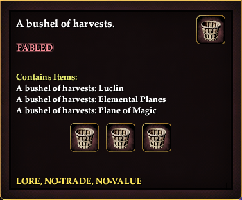 A bushel of harvests. (Luclin, Planes and Magic)