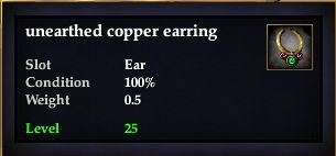Unearthed copper earring