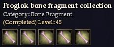Froglok bone fragment collection