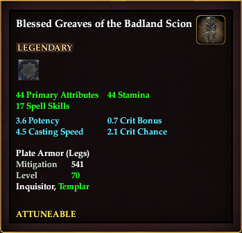 Blessed Greaves of the Badland Scion (Level 70)
