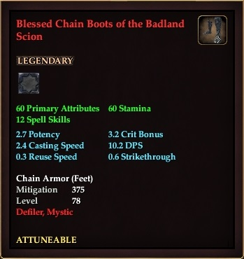 Blessed Chain Boots of the Badland Scion (Level 78)