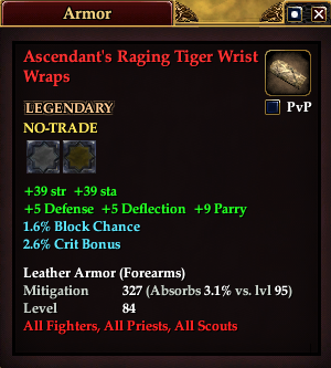 Ascendant's Raging Tiger Wrist Wraps (Level 80)