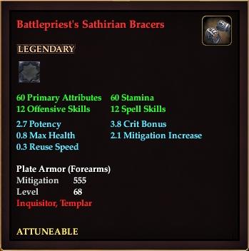 Battlepriest's Sathirian Bracers (Level 68)