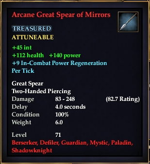 Arcane Great Spear of Mirrors