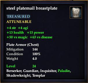 Steel platemail breastplate