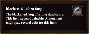Blackened cobra fang