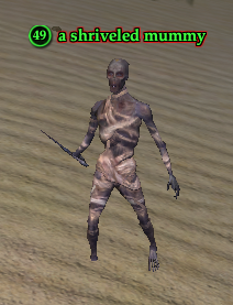 A shriveled mummy