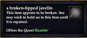 A broken-tipped javelin