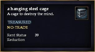 A hanging steel cage