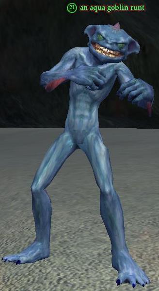An aqua goblin runt