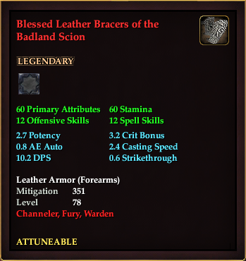 Blessed Leather Bracers of the Badland Scion (Level 78)