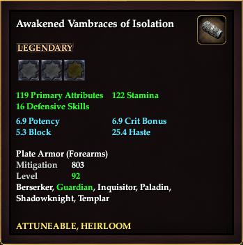 Awakened Vambraces of Isolation