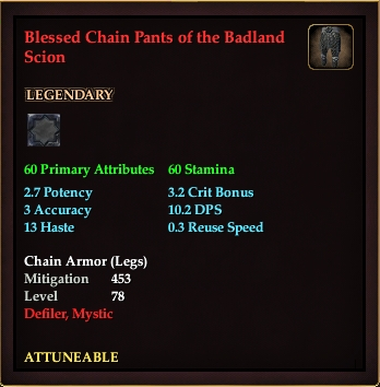 Blessed Chain Pants of the Badland Scion (Level 78)