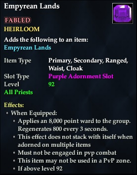 Empyrean Lands (92, Heirloom, purple, Fabled) (Crate Reward)