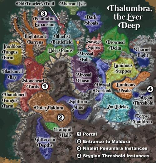 Map of Thalumbra, the Ever Deep