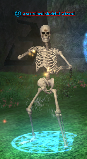 A scorched skeletal wizard