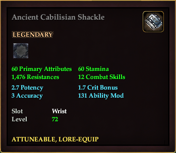 Ancient Cabilisian Shackle (Level 72)