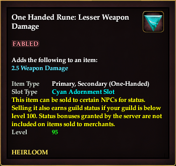 One Handed Rune: Lesser Weapon Damage