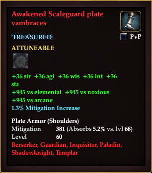 Awakened Scaleguard plate vambraces