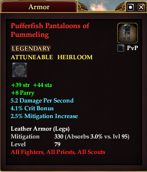 Pufferfish Pantaloons of Pummeling (Level 79)