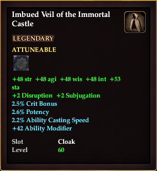 Imbued Veil of the Immortal Castle (Level 50)