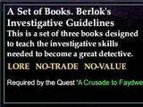 A Set of Books. Berlok's Investigative Guidelines