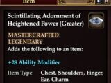 Scintillating Adornment of Heightened Power (Greater)