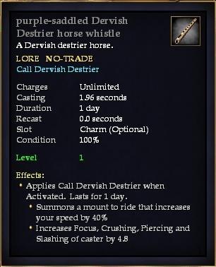 Purple-saddled Dervish Destrier horse whistle