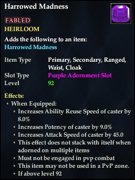 Harrowed Madness (92, Heirloom, purple, Fabled) (Crate Reward)