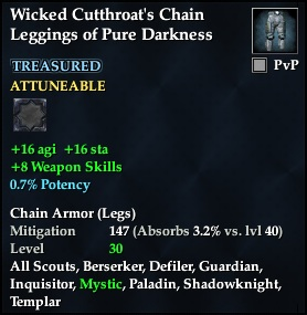 Wicked Cutthroat's Chain Leggings of Pure Darkness