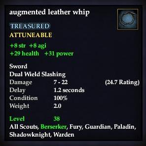 Augmented leather whip